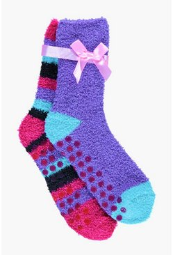 Girls Two Pack Cosy Grip Socks