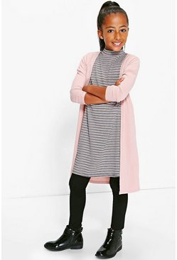 Girls Longline Ribbed Cardigan