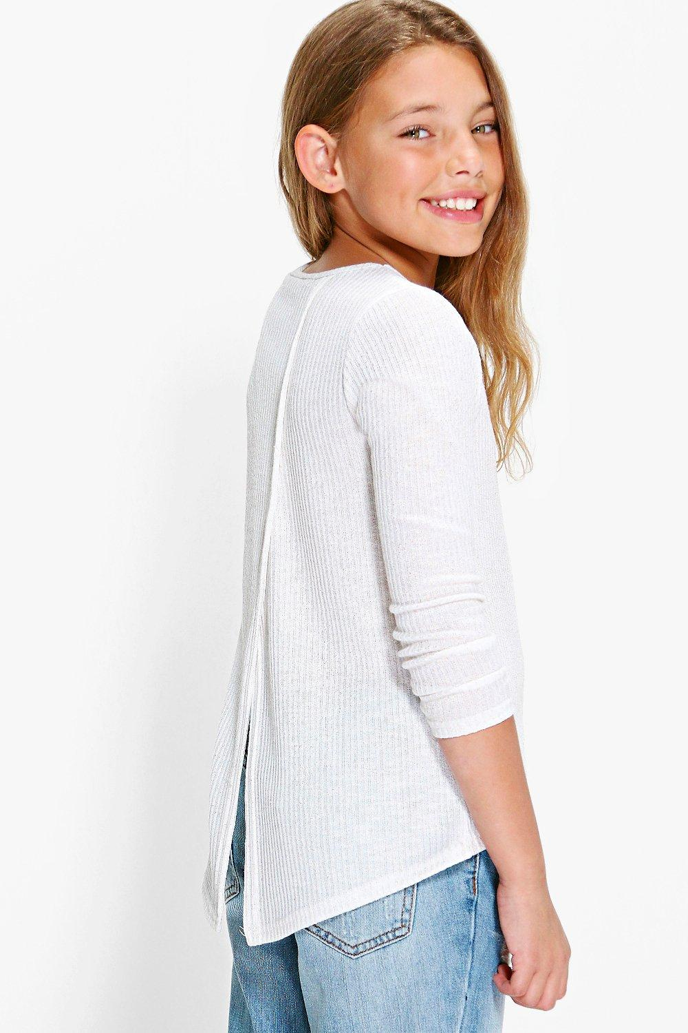 Girls Wrap Back Metallic Knit Jumper