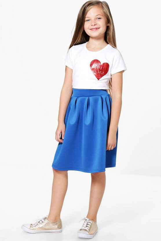 Girls Box Pleat Scuba Skater Skirt