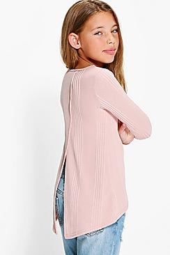 Girls Slash Back Ribbed Top