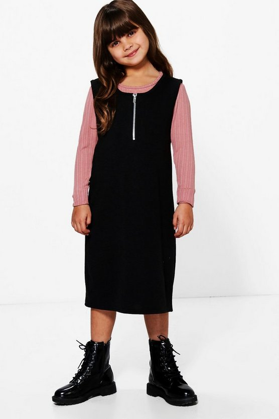 Girls Zip Front Pinafore and Top Set