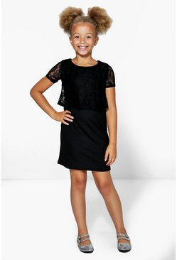 Girls Lace Overlay Swing Dress