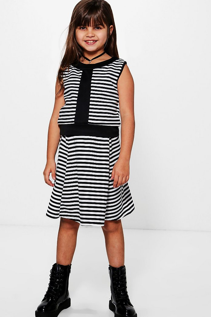 Girls Stripe Top & Skater Skirt Set