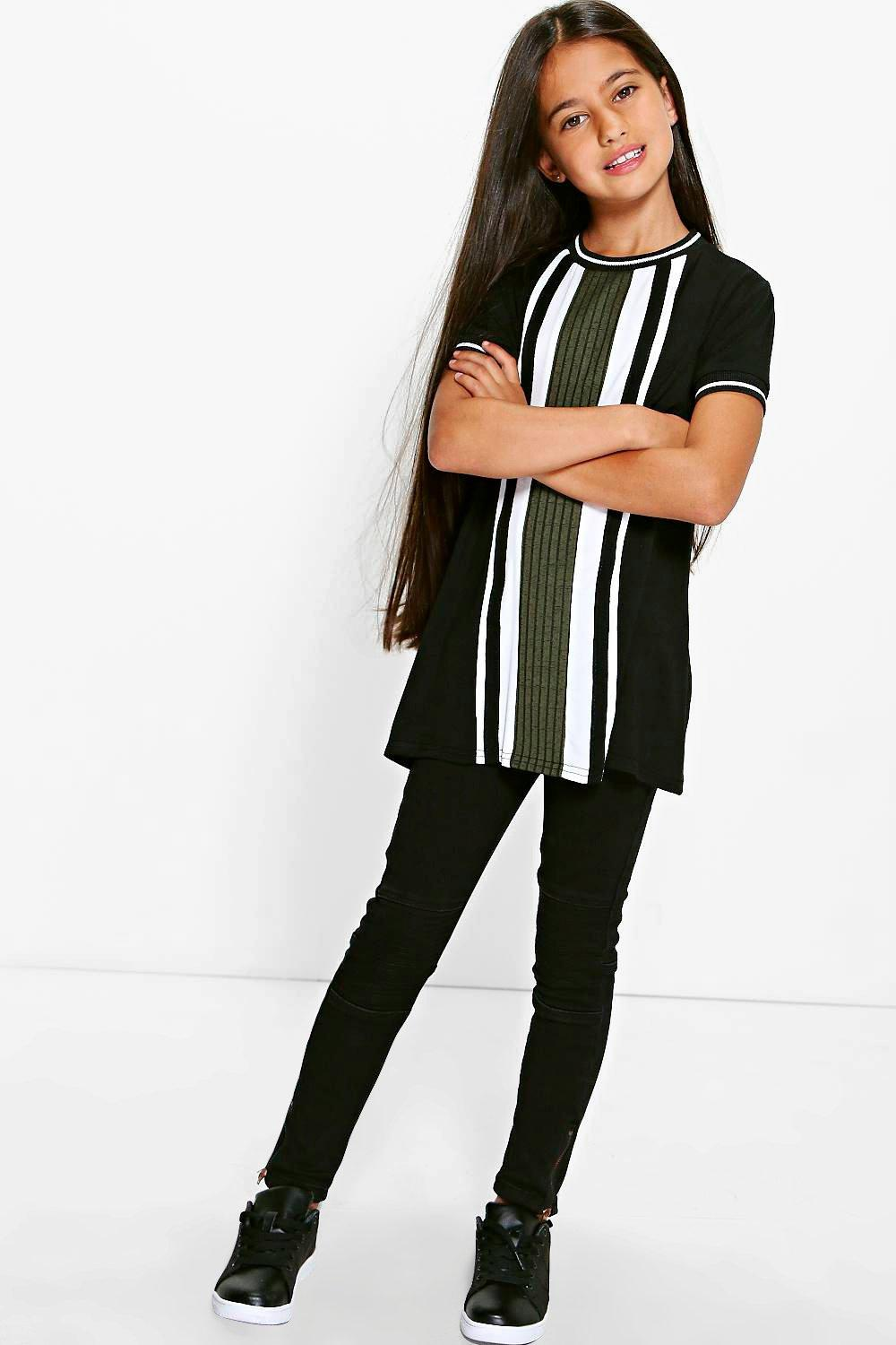 Colour Block T Shirt Dress  khaki