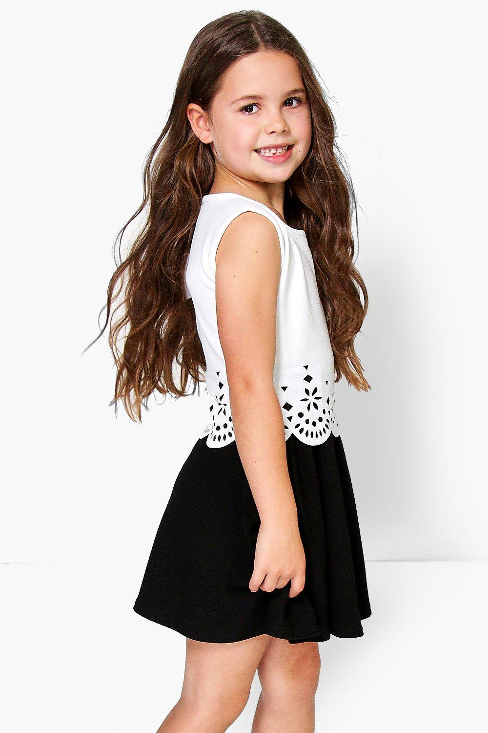 Girls Lazer Cut Skater Dress