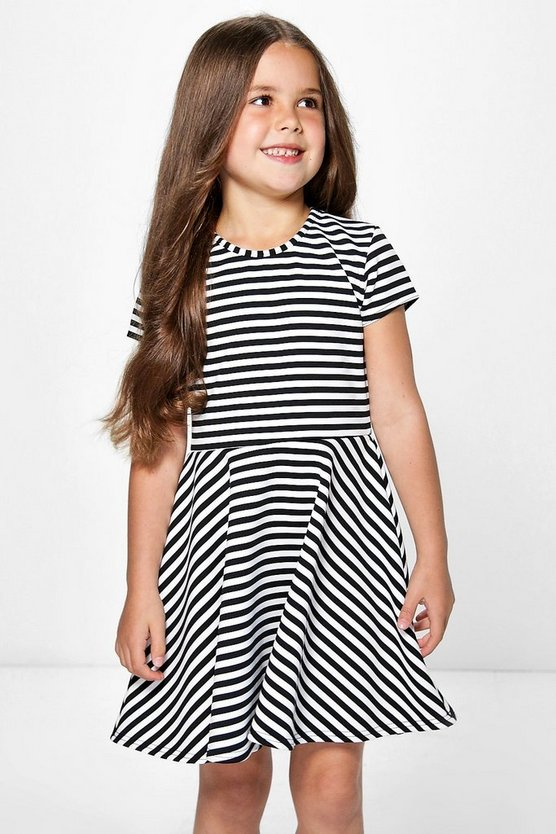 Girls Capped Sleeve Belted Skater Dress