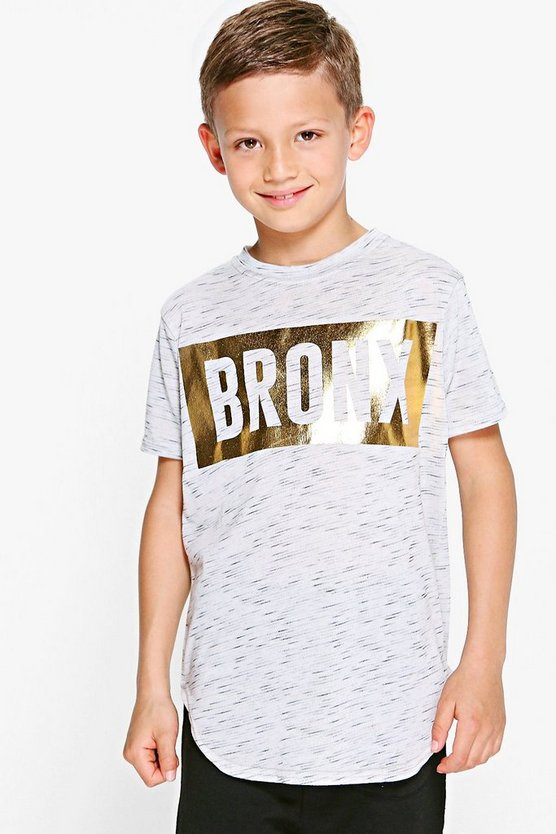 Boys Slogan Dip Back Tee