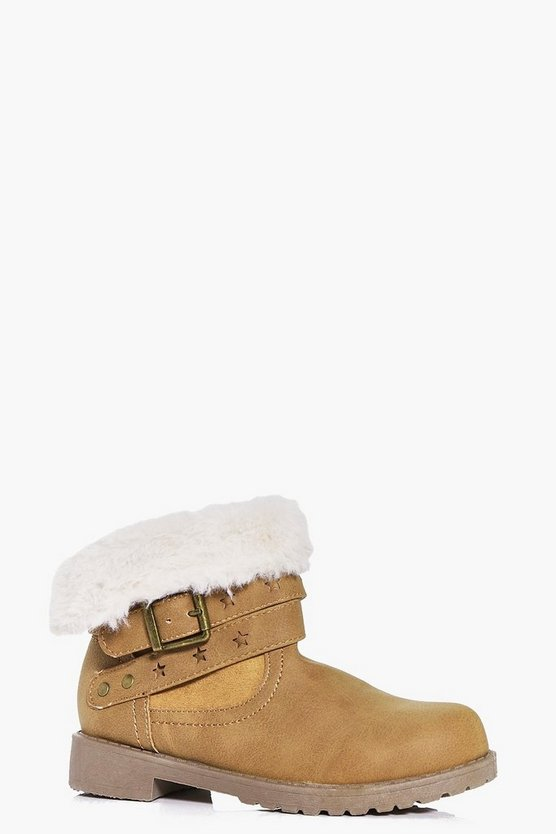 Girls Shearling Wrap Strap Biker Boot