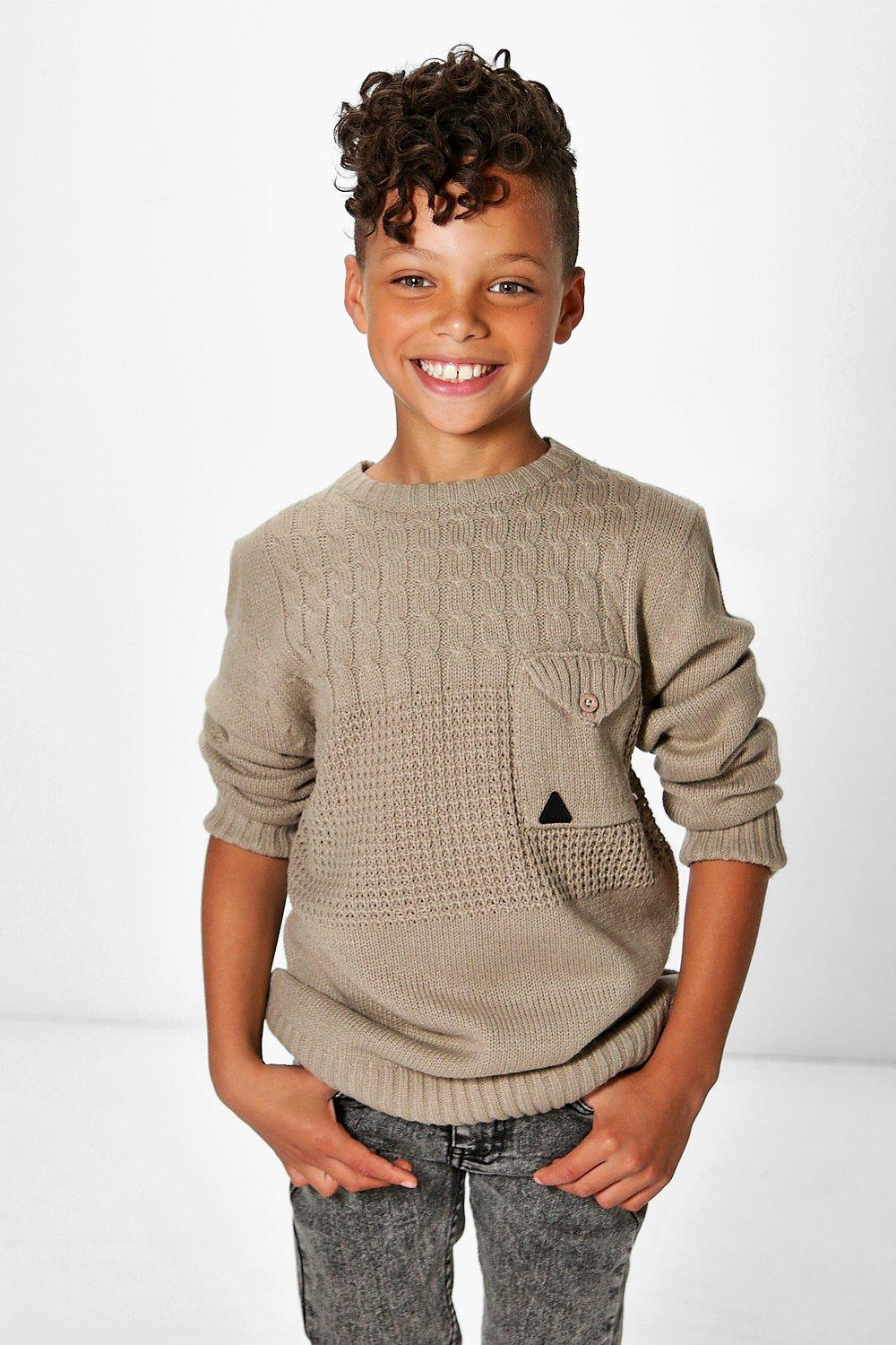 Boys Heavy Knit Pocket Detail Jumper
