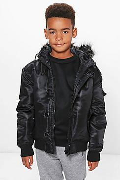 Boys Padded Faux Fur Hood Jacket