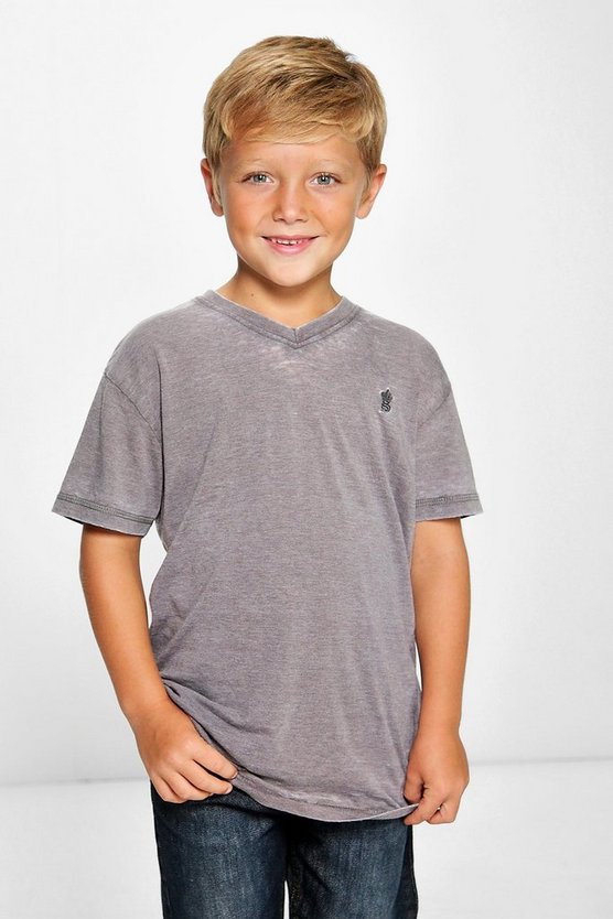 Boys Solid Colour Burnout Tee