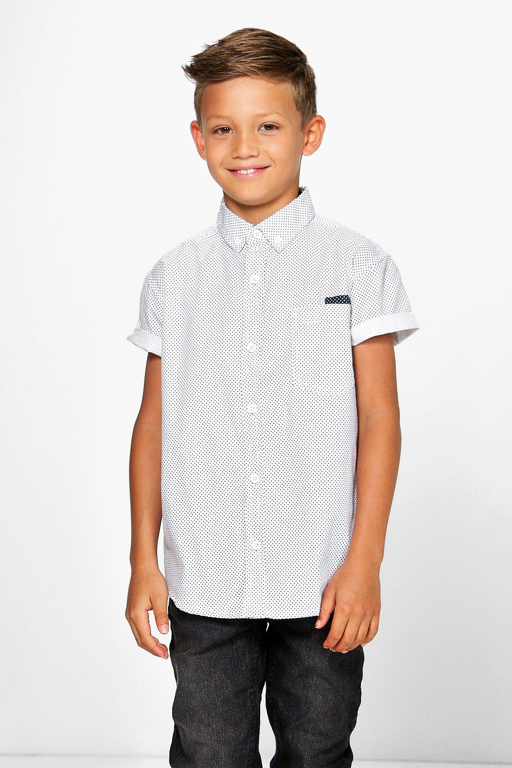 Boys Polka Dot Short Sleeved Shirt