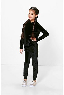 Girls Velvet Tracksuit Set
