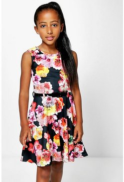 Girls Floral Print Belted Dress