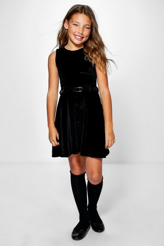 Girls Velvet Belted Skater Skirt