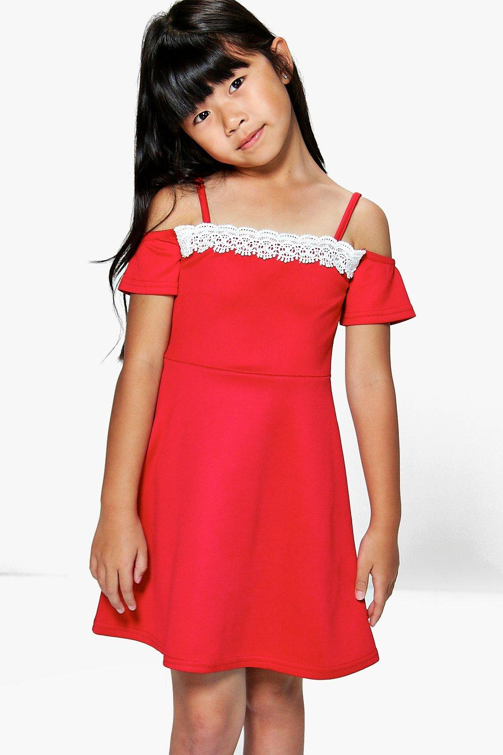 Girls Crochet Off The Shoulder Dress