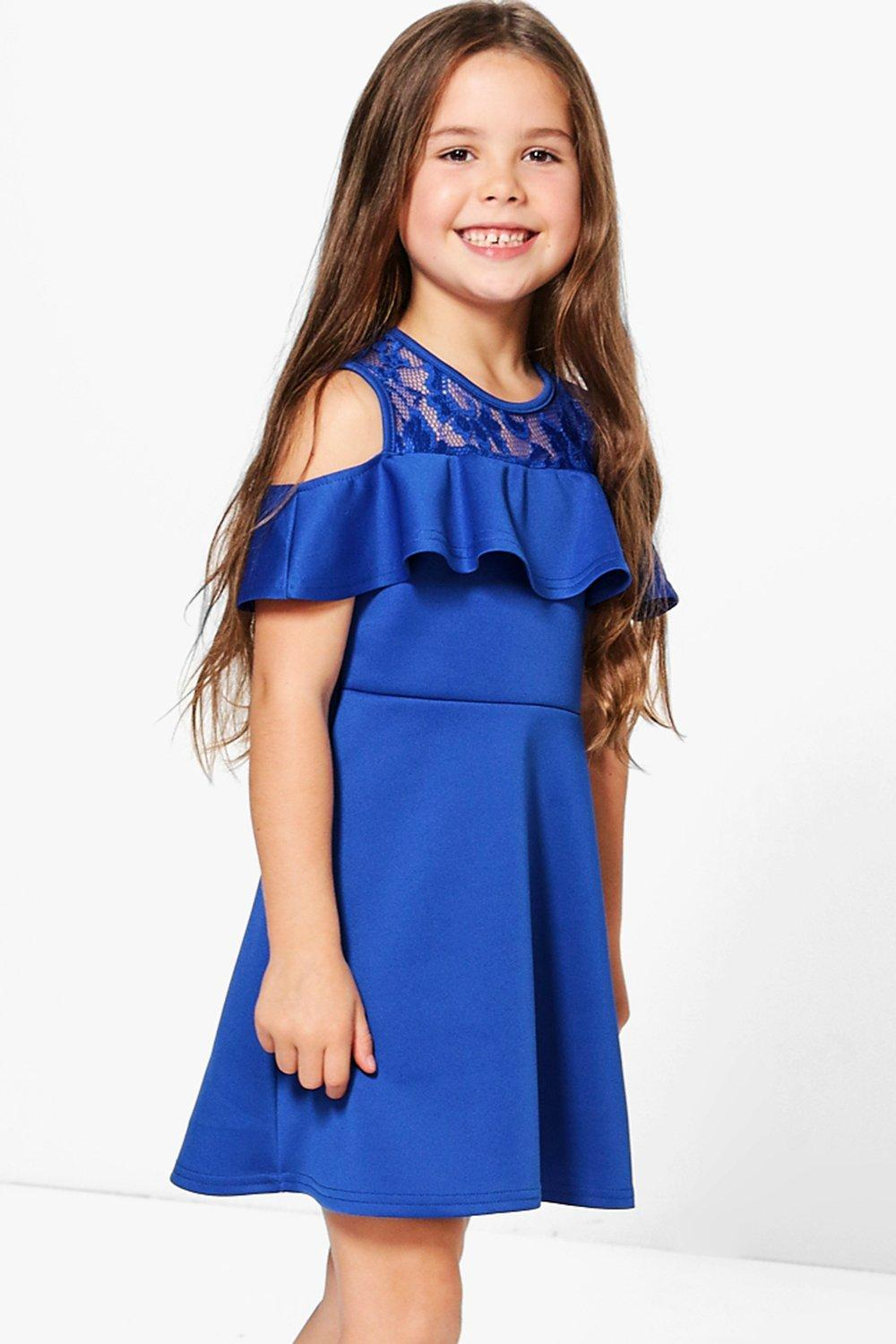 Girls Lace Top Frill Skater Dress
