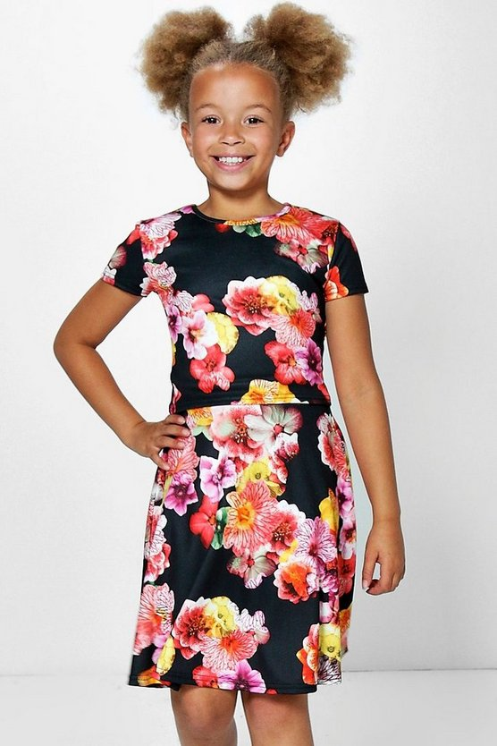 Girls Floral Print Top & Skater Skirt Set