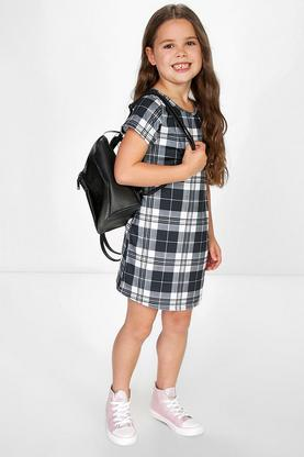 Girls Capped Sleeve Checked Shift Dress