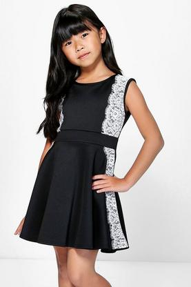 Girls Lace Trim Skater Dress