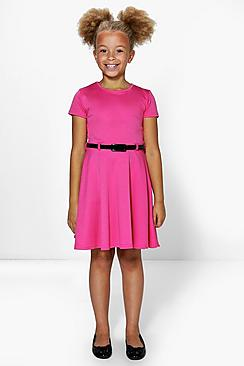 Girls Capped Sleeve Belted Ponte Skater Dress