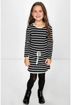 Girls Curve Hem Stripe Dress