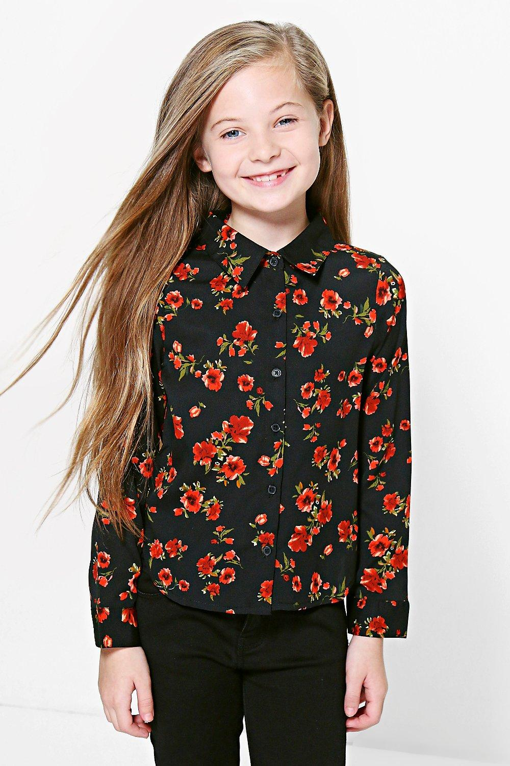 Girls Floral Print Dip Back Shirt