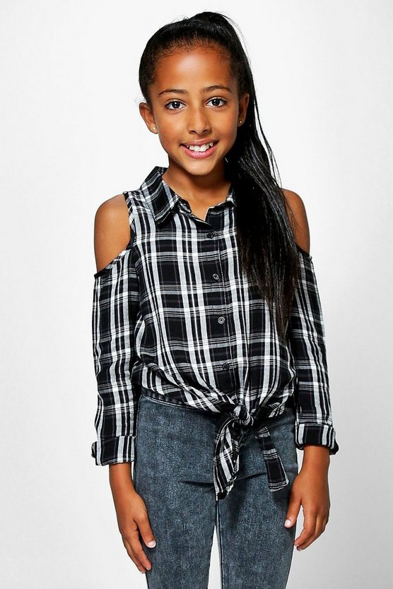 Girls Cold Shoulder Long Sleeve Check Shirt