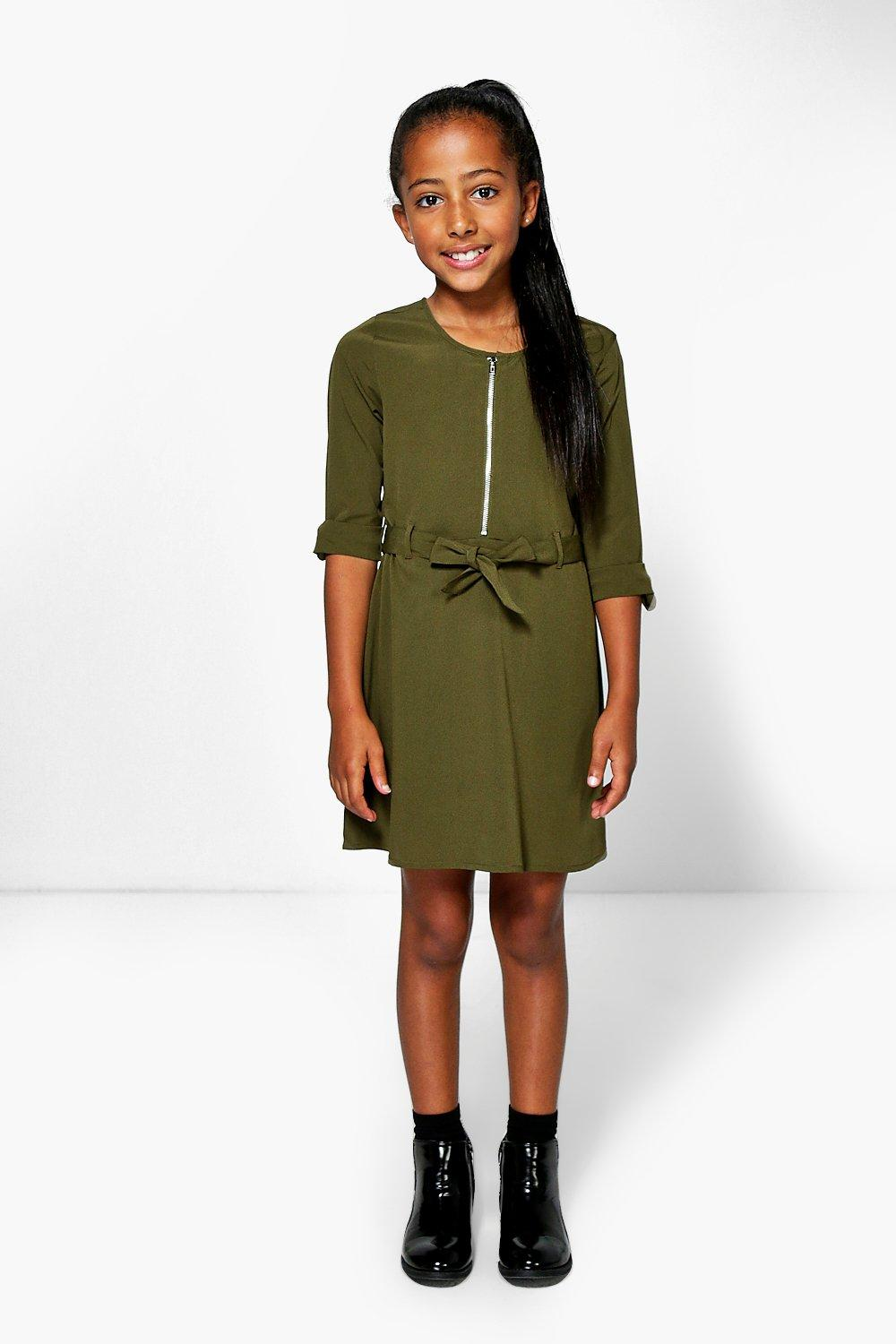 Girls Zip Front Woven Shirt Dress