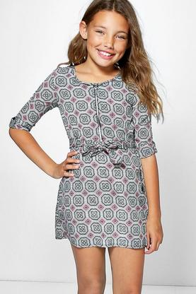 Girls Tile Print Zip Front Shirt Dress