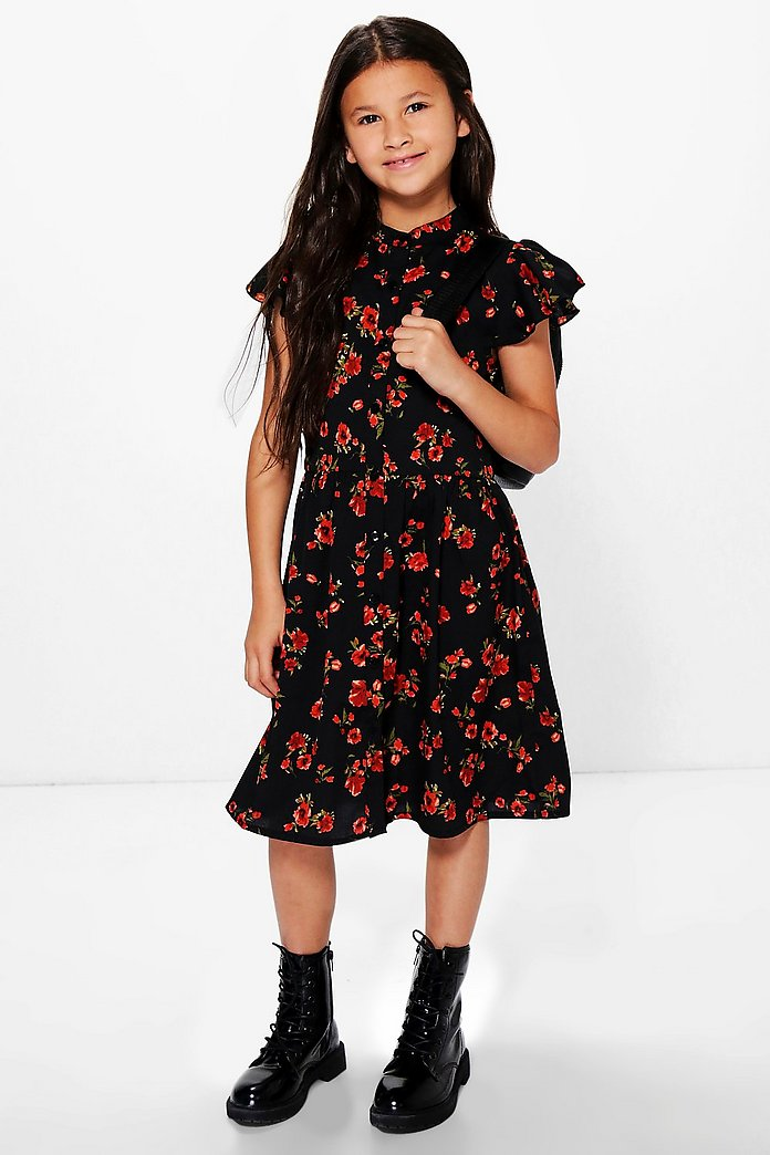 Girls Floral Print Shirt Dress