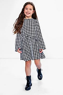 Girls High Neck Smock Style Skater Dress