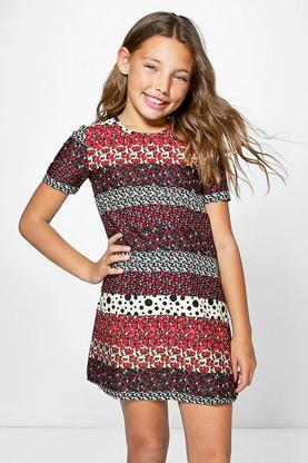 Girls Capped Sleeve Multi Floral Shift Dress