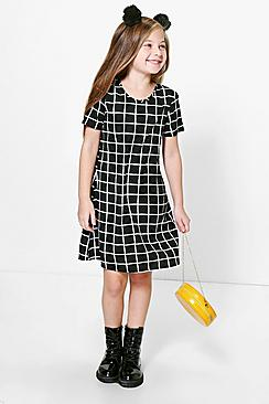 Girls Capped Sleeve Check Shift Dress