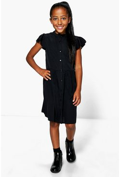 Girls Frill Sleeve Shirt Dress