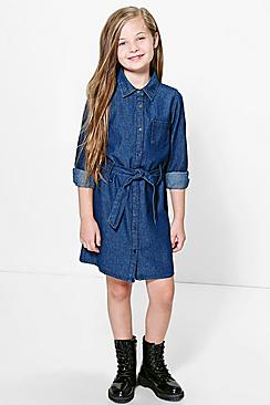 Girls Belted Denim Shirt Dress