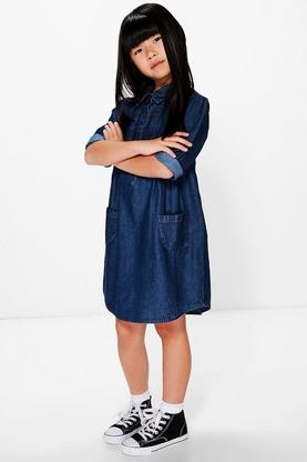 Girls Pintuck Detail Denim Dress