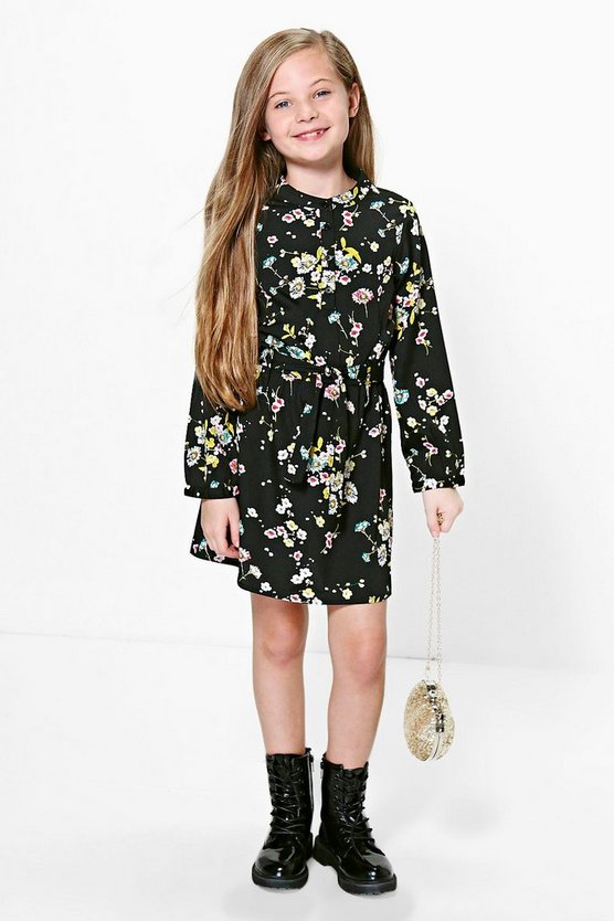 Girls Button Front Belted Floral Dress