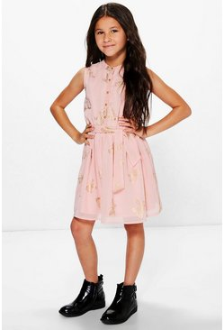 Girls Butterfly Print Chiffon Party Dress