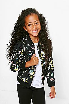Girls Floral Print Bomber Jacket
