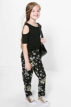 Girls Floral Print Relaxed Fit Trousers