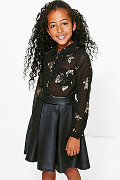 Girls Butterfly Foil Print Blouse