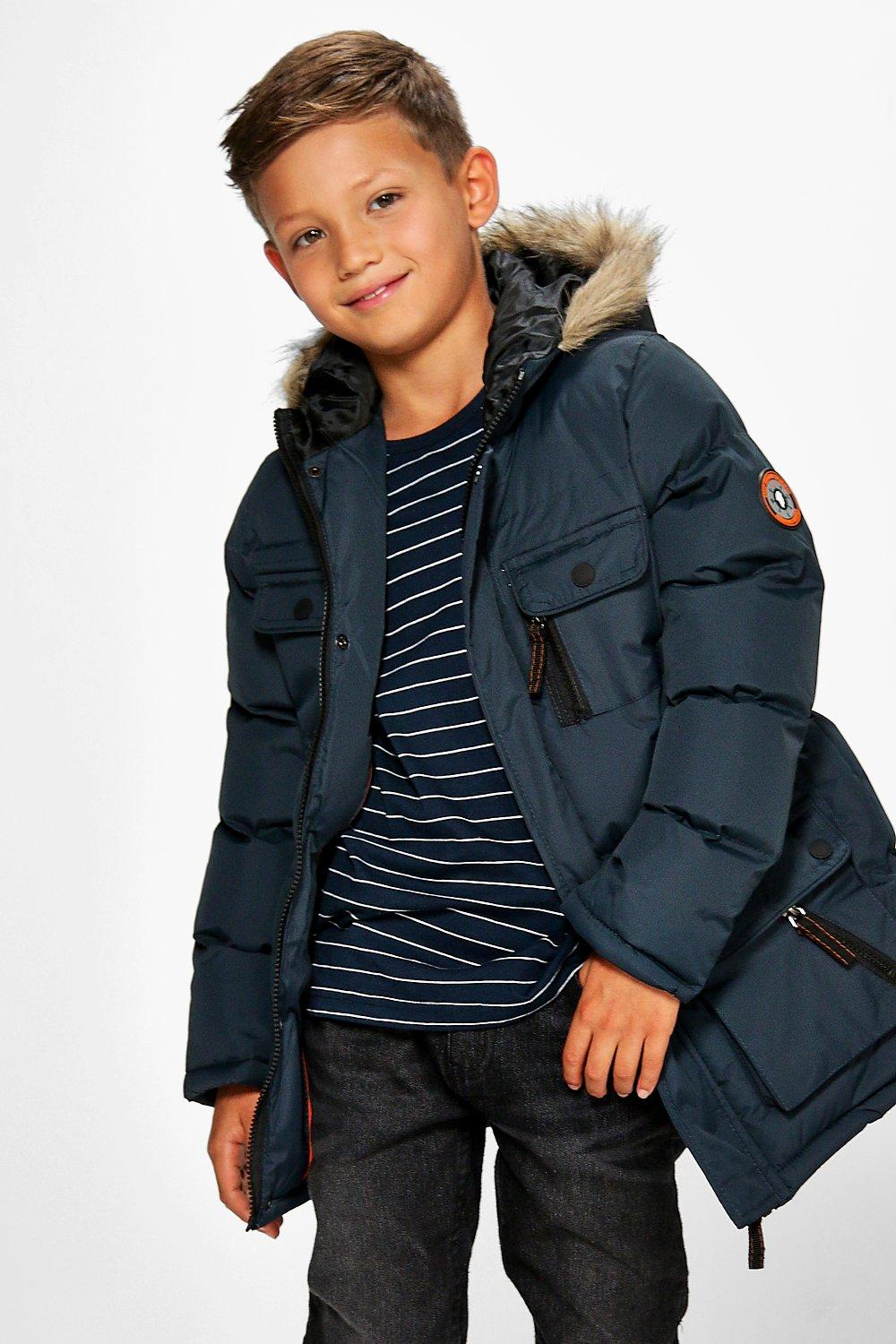 Boys Faux Fur Hooded Padded Winter Coat