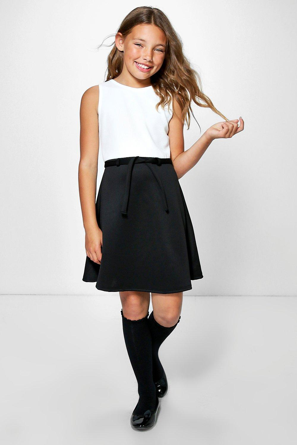 Girls Colour Block Skater Dress