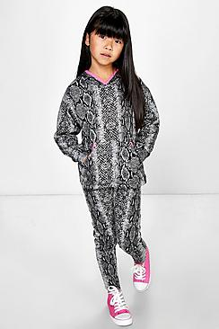 Girls Snakeprint Contrast Trim Tracksuit