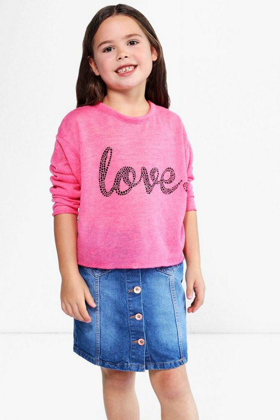 Girls Dip Hem Knitted Oversized Jumper