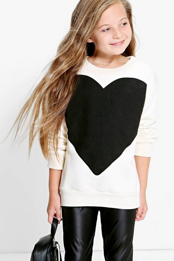 Girls Heart Print Sweat Top