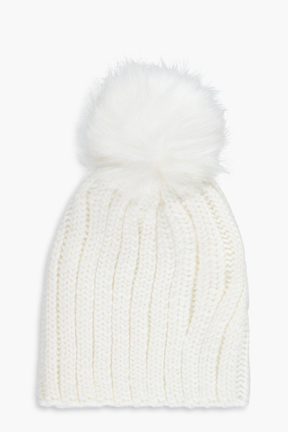 Girls Faux Fur Pom Pom Knitted Hat