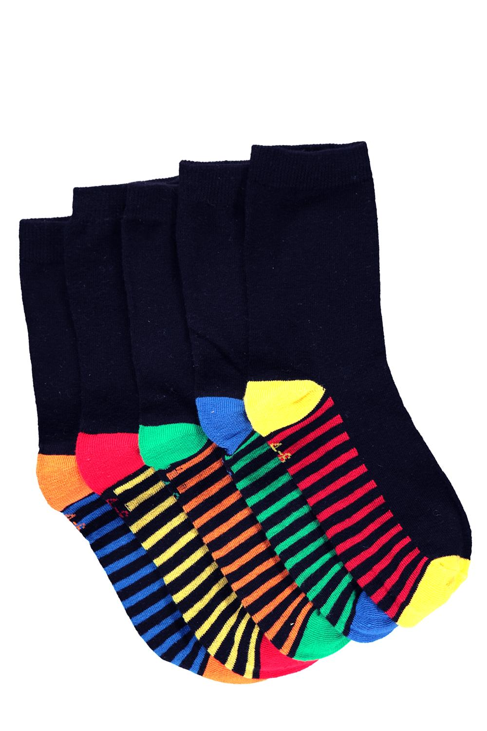 Boys Contrast Colour Socks 5 Pack